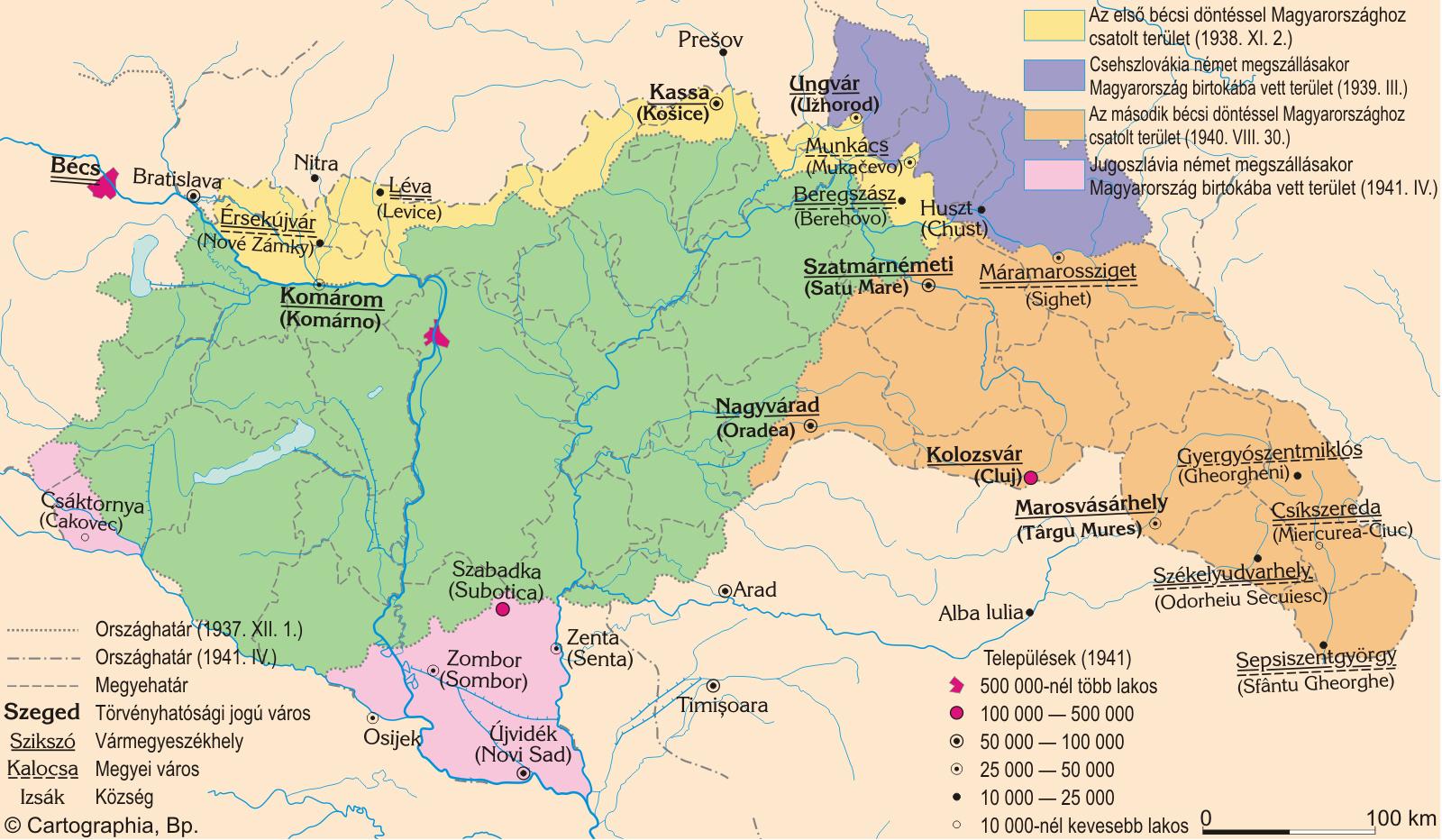 Magyarországhoz visszacsatolt területek 1938-1941