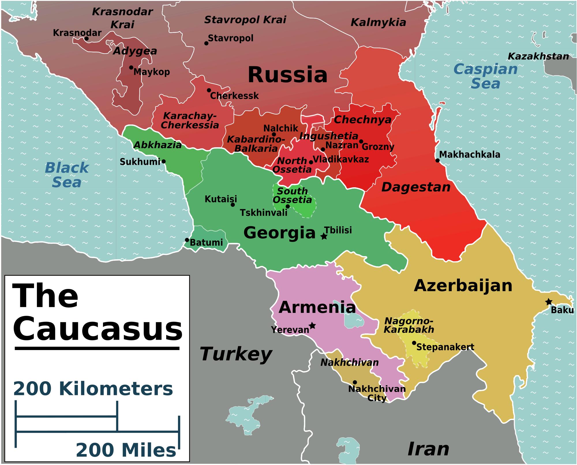 A kaukázusi régiók térképe