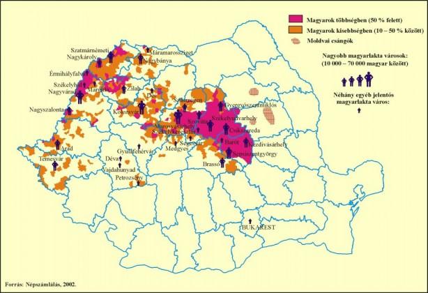 Románia : a magyar többségű (piros) és kisebbségű (sárga) területek Erdélyben, és a moldvai csángók